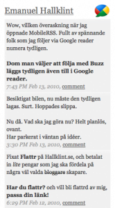 Google Buzz widget för WordPress sidebar
