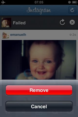 Radera bilden. Instagram på iPhone